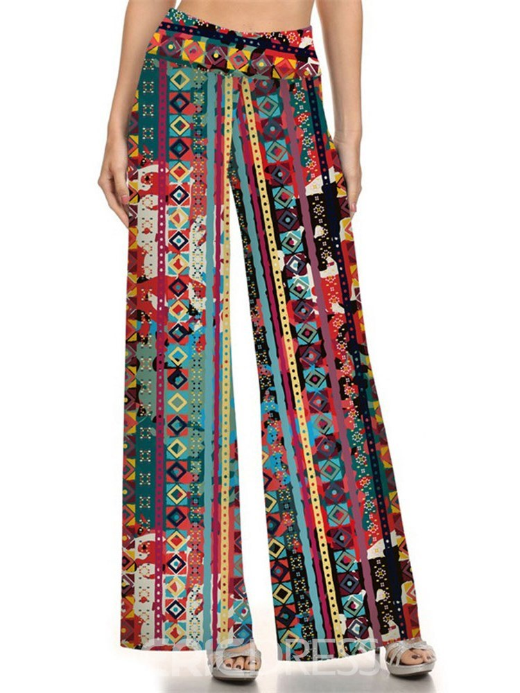 Ericdress Print Color Block Wide Legs Women's Pants