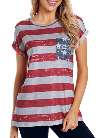 Ericdress Scoop Stripe Star Short Sleeve Cuffed Womens T Shirt