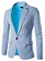 Ericdress Notched Lapel Solid Color Slim Mens Blazer