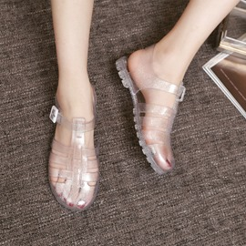 Ericdress Strappy Buckle Block Heel Round Toe PVC Sandals
