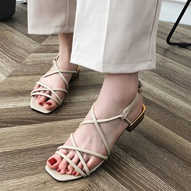 Ericdress Buckle Strappy Block Heel Flat Sandals