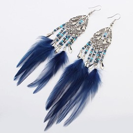 Ericdress Feather Beads Drop Earrings