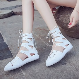 Ericdress Plain Cross Strap High-Cut Flat Sandals