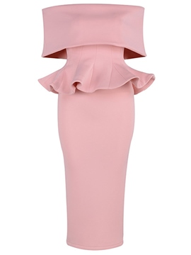 Ericdress Pink Slash Neck Ruffles Backless Patchwork Bodycon Dress