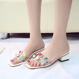 Ericdress Rivet Flip Flop Slip-On Block Heel PVC Sandals