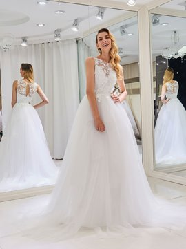 Ericdress Bateau Neck Appliques Wedding Dress