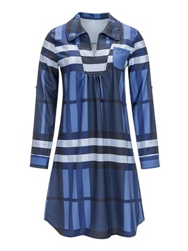 Ericdress Color Block Polo Neck Stripe Long Sleeve Plus-Size Womens Top