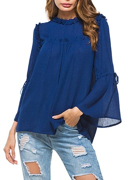 Ericdress Loose Hem Flare Sleeve Womens Top