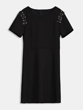 Short Sleeve Tie Shoulder Day Dress