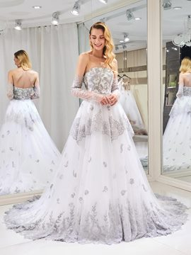 Ericdress Strapless Appliques Ball Gown Wedding Dress with Sleeves