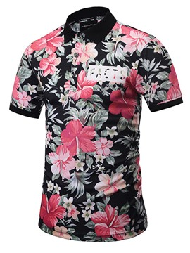 Ericdress Floral Print Slim Fit Mens Polo T Shirts