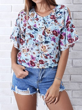 Ericdress Floral Cold Shoulder Print Womens Top