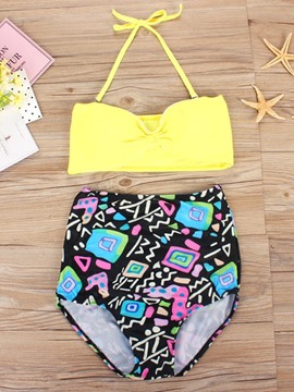 Ericdress Lace-Up Print Color Block Bikini Set
