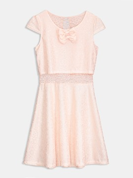 Pink Cap Sleeve Women's Lace Dress