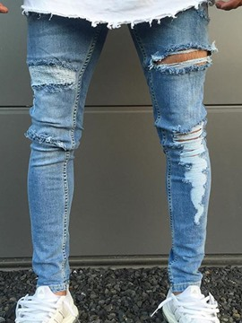 Ericdress Light Blue Plain Skinny Ripped Mens Jeans