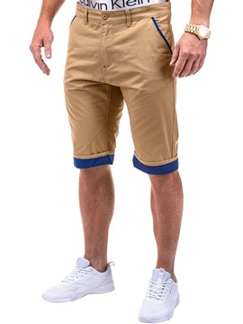 Ericdress Plain Color Block Staight Mens Casual Shorts