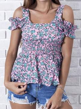 Ericdress Floral Print Off Shoulder Peplum Womens Top