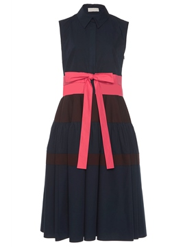 Ericdress Polo Neck Patchwork Bowknot A-Line Dress