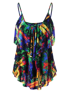 Ericdress Tie-Dye Color Block Spaghetti Straps Womens Vest