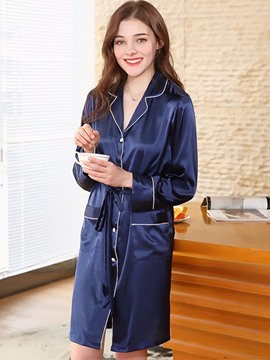Ericdress Casual Notched Lapel Pocket Night Robe