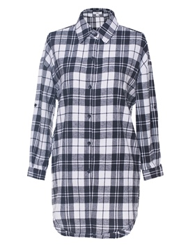 Ericdress Gingham Button-Down Mid-Length Womens Top