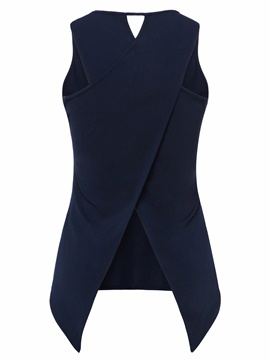 Ericdress Plain Asymmetric Hole Womens Vest