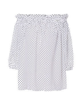 Ericdress Off Shoulder Loose Polka Dots Womens Top