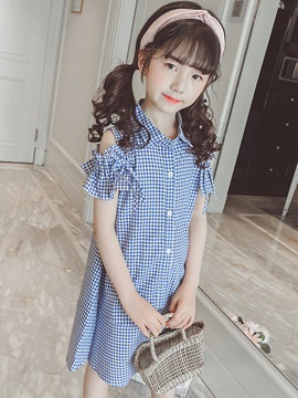Ericdress Plaid Bowknot A-Line Single Breasted Girl's Casual Dress