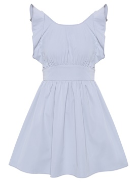 Gray Ruffled Women's Day Dress