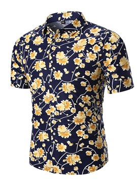Ericdress Plant Floral Print Loose Short Sleeve Mens Shirts
