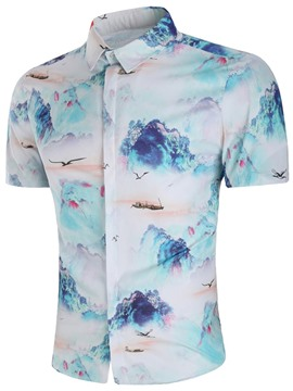Ericdress Chinese Style Printed Lapel Loose Mens Summer Shirts