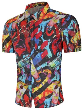 Ericdress Color Block Printed Loose Short Sleeve Mens Shirts