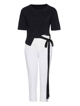 Tie Waist Tee and Pants Women's Two Piece Set