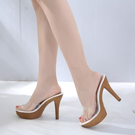 Ericdress See-Through Slip-On Platform PVC Sandals