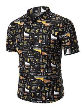 Ericdress Color Block Instrument Printed Mens Short Sleeve Shirts