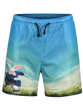 Ericdress Cartoon Rabbit Printed Mens Beach Board Swim Shorts