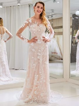 Ericdress Sheath Long Sleeve Lace Wedding Dress