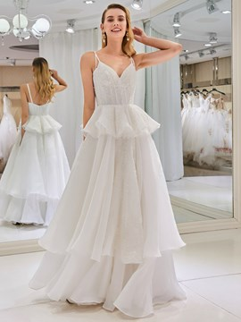 Ericdress Spaghetti Straps Beading Tiered Wedding Dress