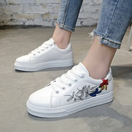 Ericdress Floral Embroidery Platform Lace-Up Women's Sneakers