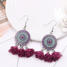 Ericdress Boho Fringed Flowers Drop Earrings