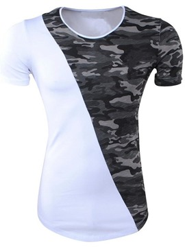 Ericdress Camouflage Color Block Slim Short Sleeve Mens T Shirts