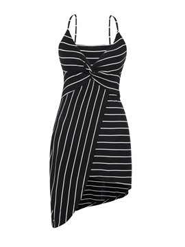 Ericdress V-Neck Stripe Asymmetric Bodycon Dress