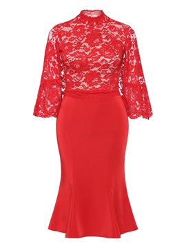 Ericdress Red Mermaid Flare Sleeve Hollow Lace Dress