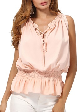 Ericdress Tie Front Plain Notch-V Sleeveless Womens Top