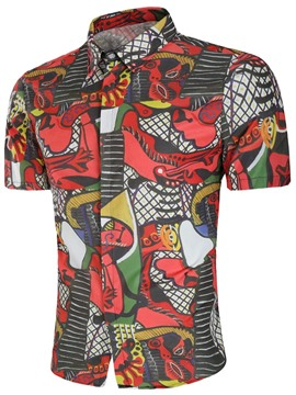 Ericdress Abstract Printed Color Block Short Sleeve Mens Shirts