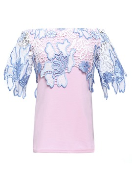 Ericdress Lace Patchwork Off Shoulder Womens T Shirt