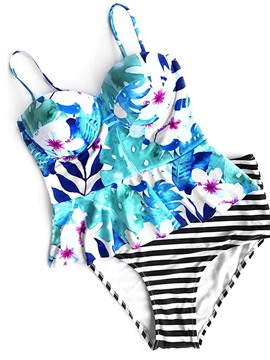 Ericdress Stripe Floral Ruffles 2-Pcs Tankini Bathing Suits