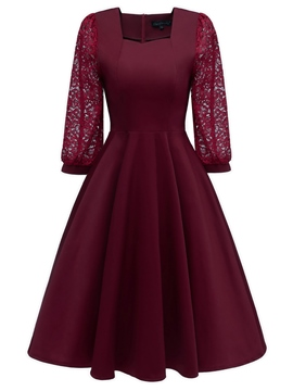 Ericdress Knee-Length Lace Sleeves Women's Dress