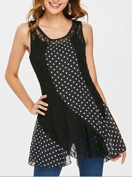 Ericdress Polka Dots Patchwork Mid-Length Womens Top