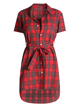 Ericdress Red Lapel Asymmetric Belt Button Plaid Casual Dress